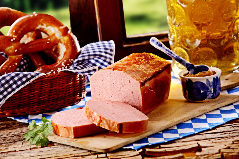 A loaf of Leberkäse