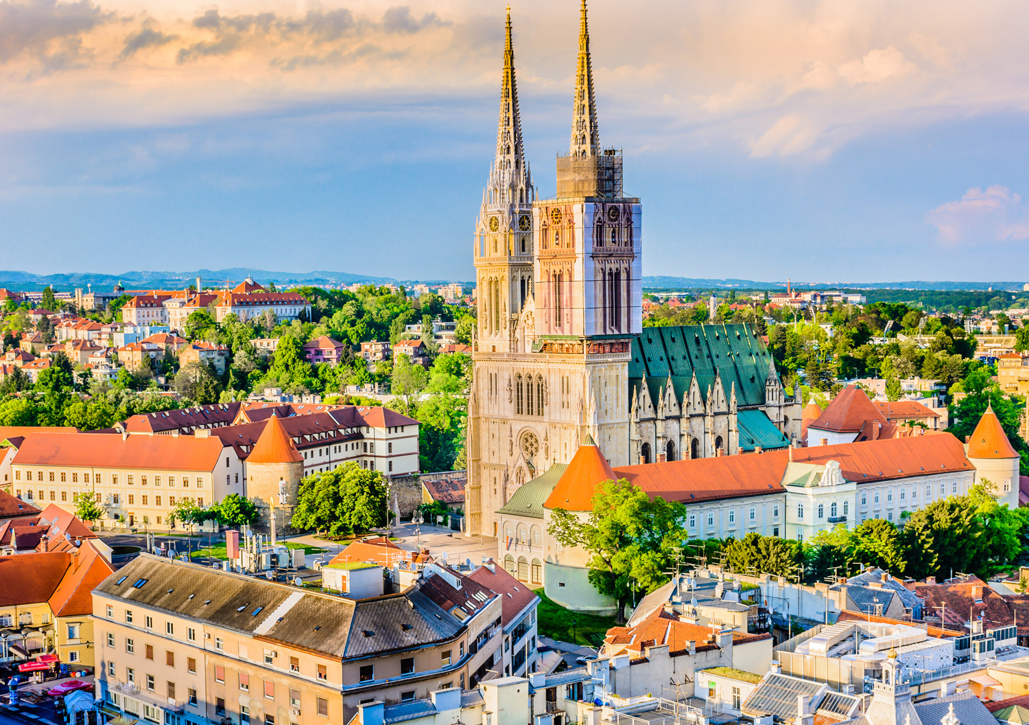 Aerial view of Zagreb Cathedral, Croatia