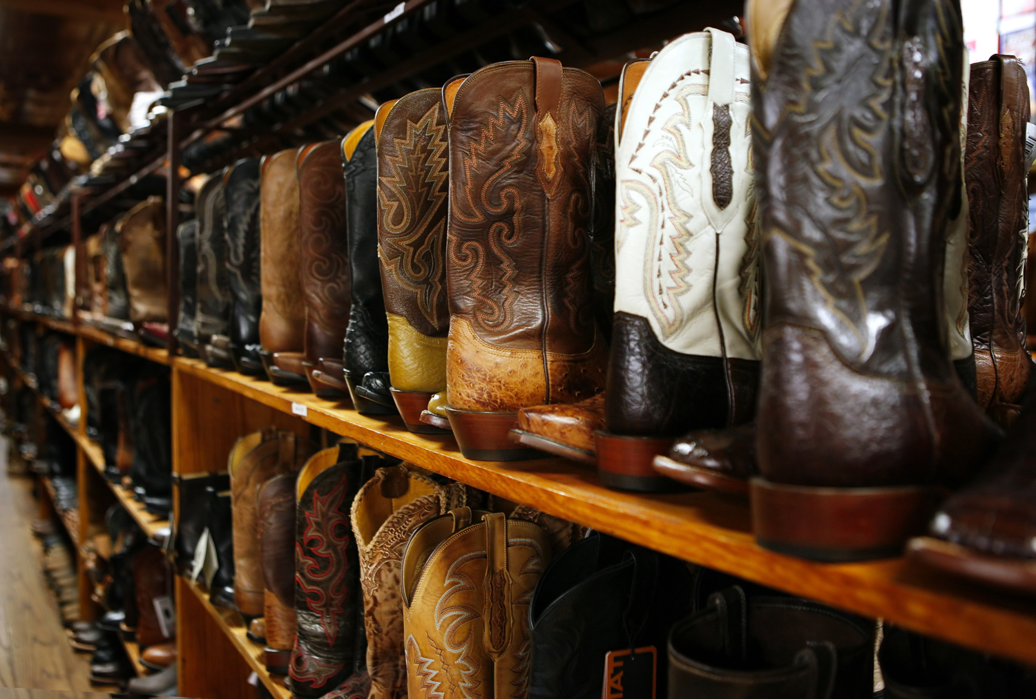 Authentic cowboy boots available from Allens Boots, Austin, Texas, USA