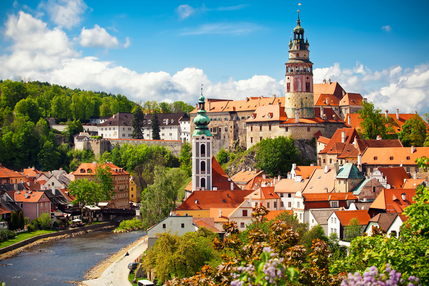 Beautiful view of the church and castle in Cesky Krumlov, Czech Republic