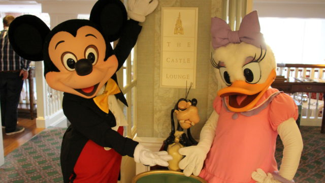 Mickey and Daisy outside the Castle Lounge, Disneyland Paris