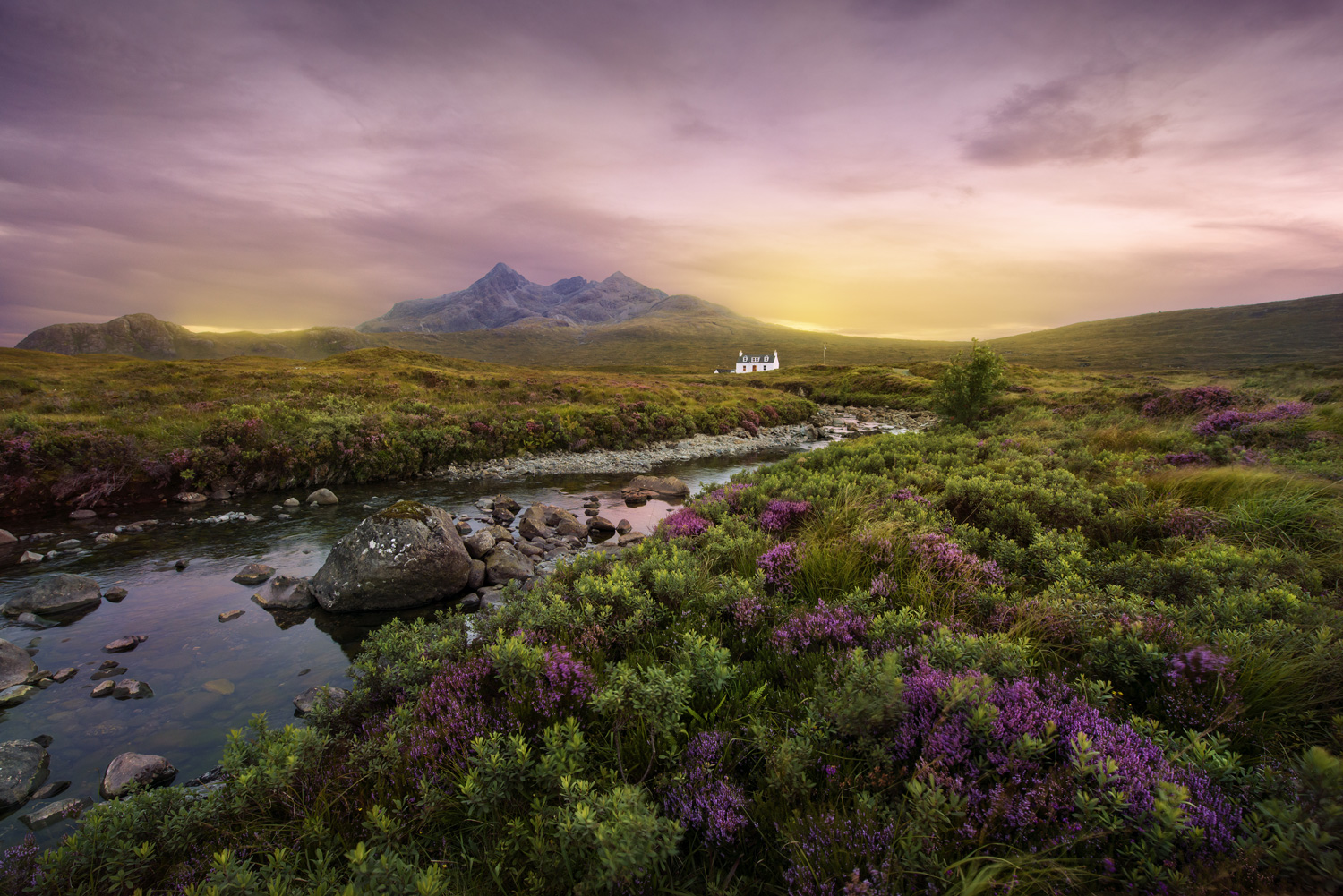 Colorful sunset over the river Sligachan in the Scottish Higlands, Scotland
