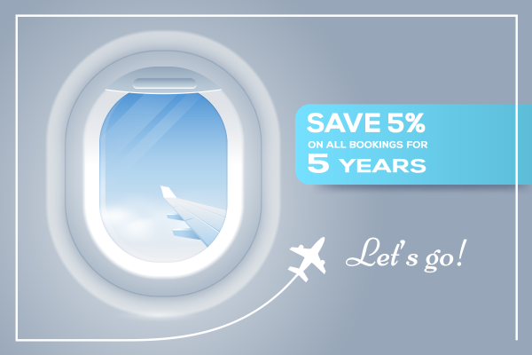 Diamond Discount: 5% off all bookings for 5 years