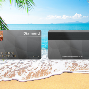 A Diamond Membership card mockup for the Holiday Hamster Travel Club