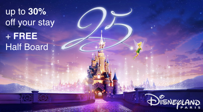 Save 30 Percent and get FREE Half Board at Disneyland Paris