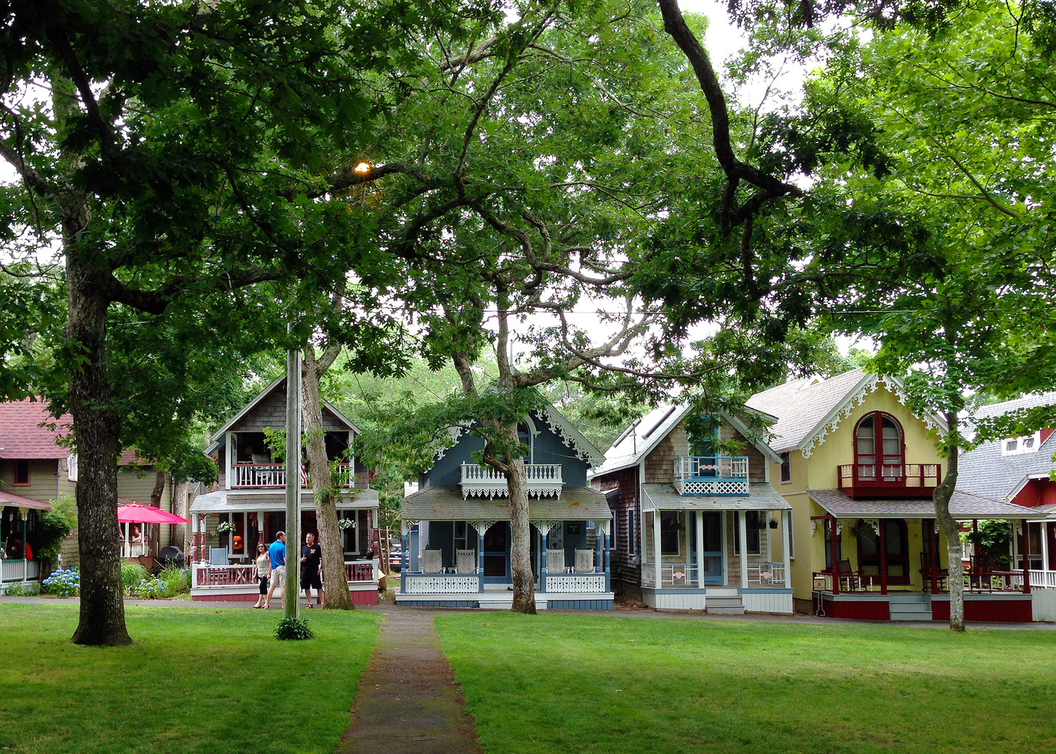 Gingerbread cottages in Oak Bluffs, Martha's Vineyard, USA