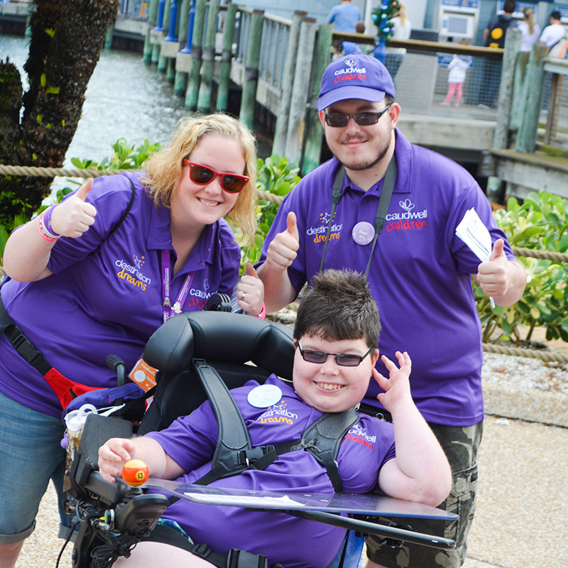 Hayley Walker (left) on the Walt Disney World Orlando trip with charity Caudwell Children