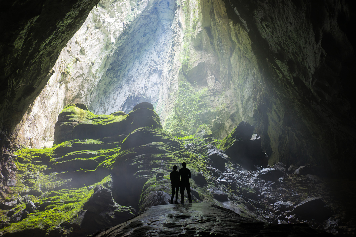 Mystery misty cave entrance in Son Doong Cave, Vietnam