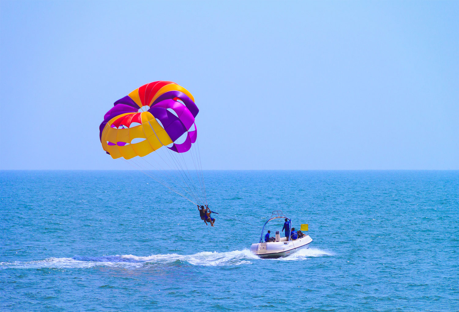 Parasailing at Candolim Beach in Goa, India