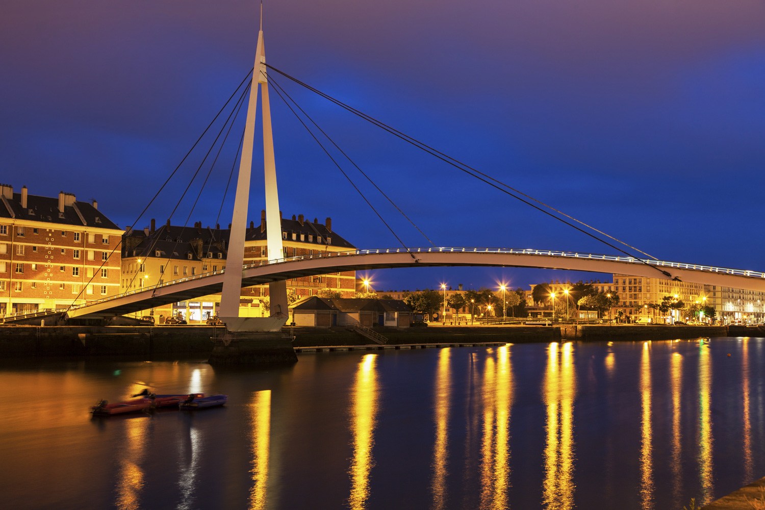 Pedestrian bridge in the center of Le Havre, Normandy, France