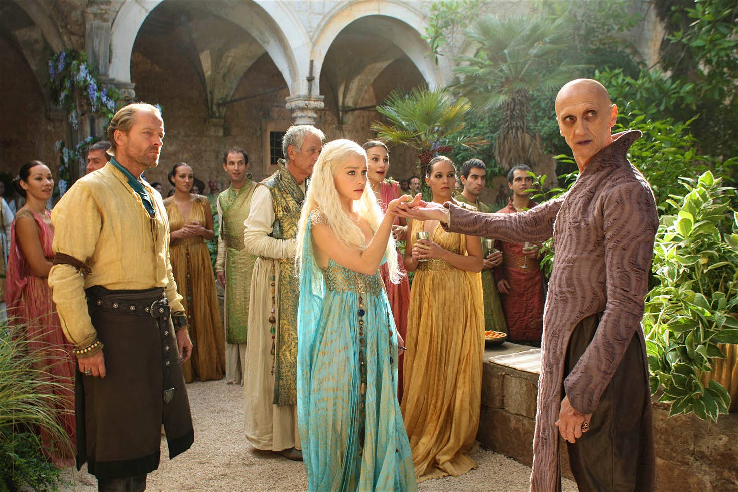 Pyat Pree welcomes Daenerys to Qarth in Lokrum's Benedictine monastery