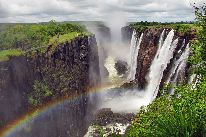 Rainbow over Victoria Falls, border of Zambia and Zimbabwe