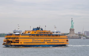 Staten Island Ferry passing the Statue of Liberty, New York