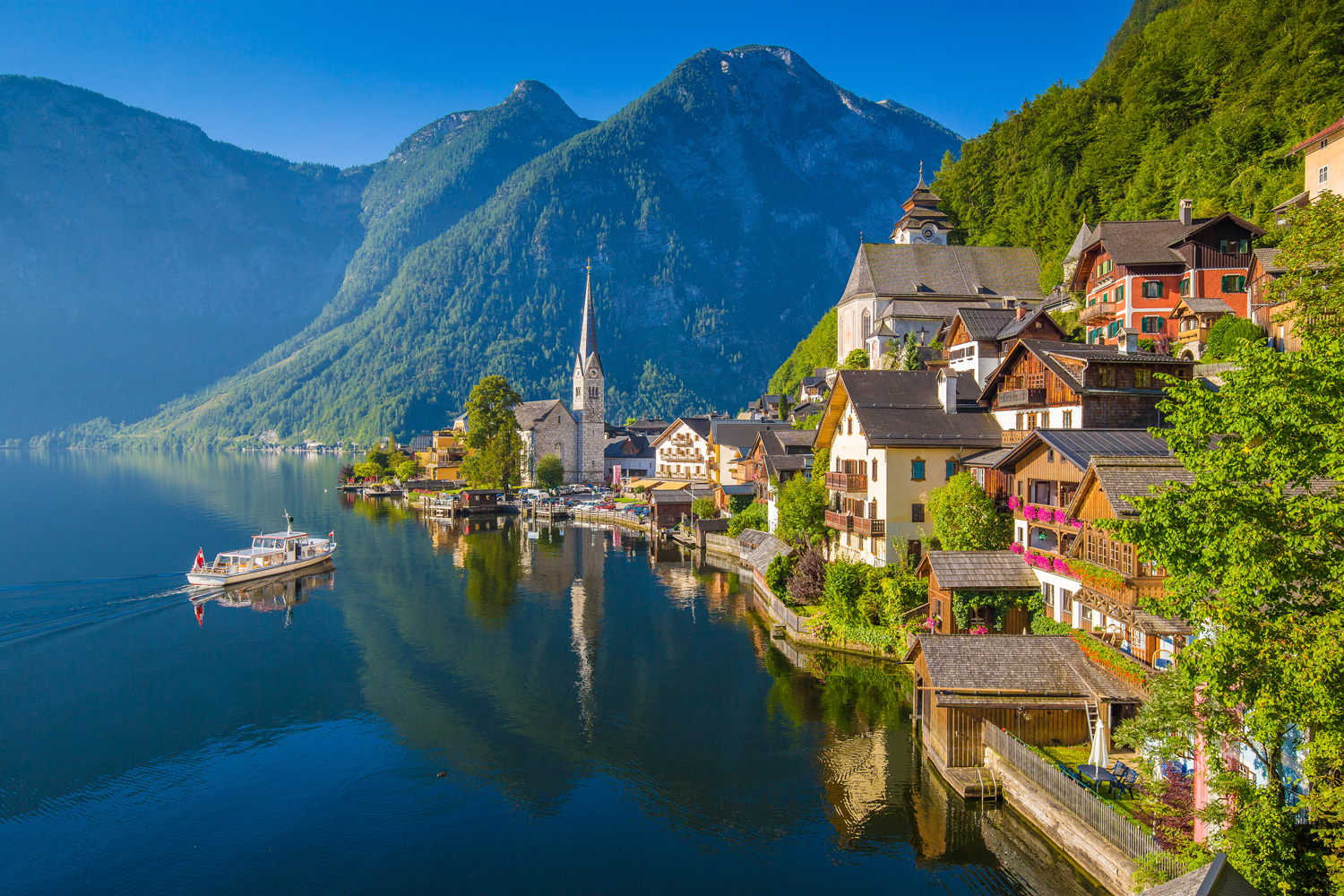 Scenic picture-postcard view of Hallstatt, a lakeside town in the Austrian Alps