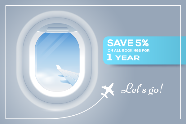 Silver Discount: 5% off all bookings for 1 year