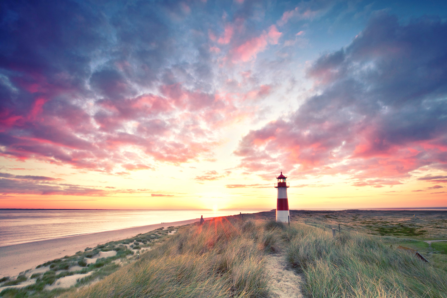 Sunrise at Lighthouse List East on Sylt
