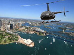 A helicopter flying over Sydney