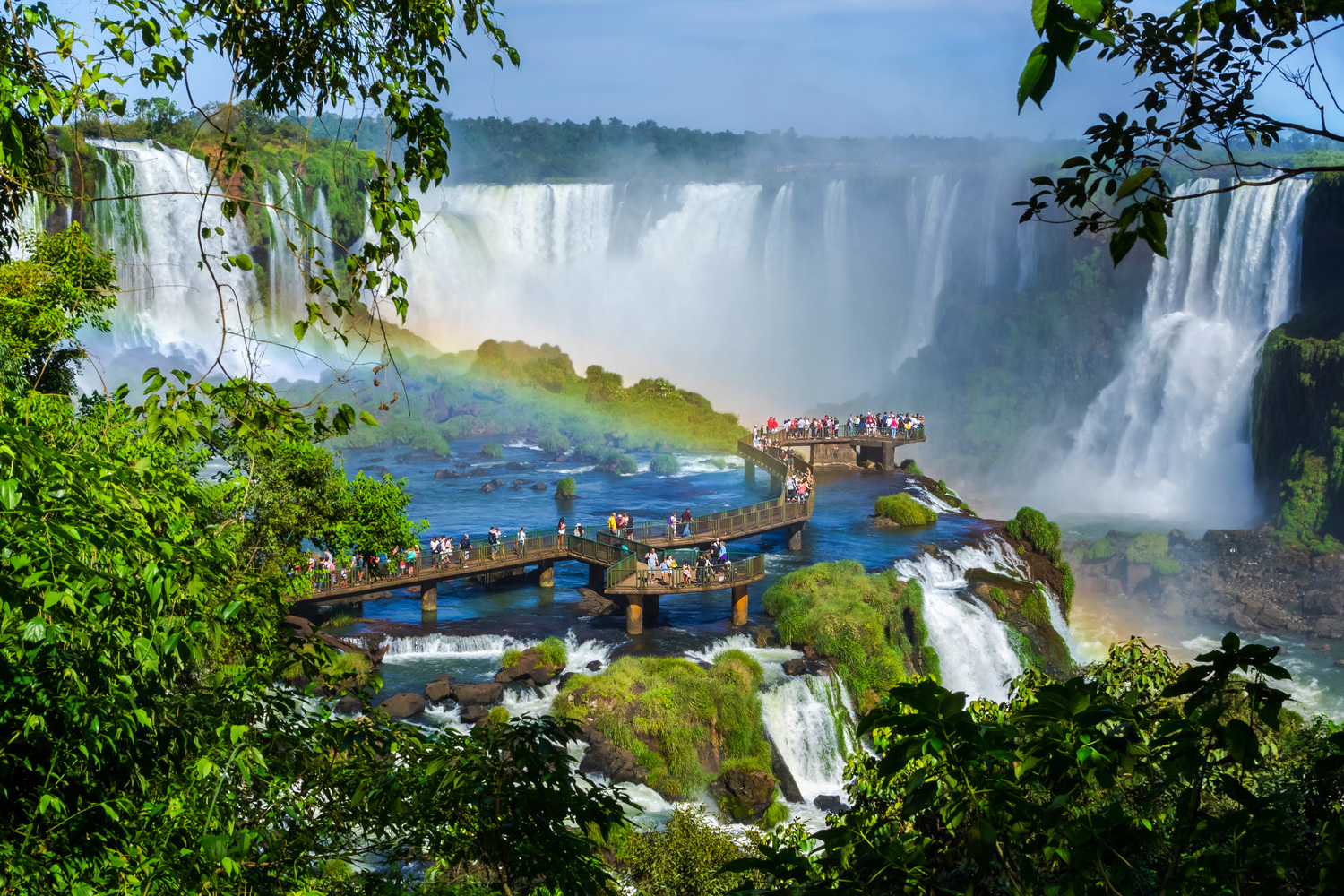 Tourists at Iguazu Falls, on the border of Brazil and Argentina
