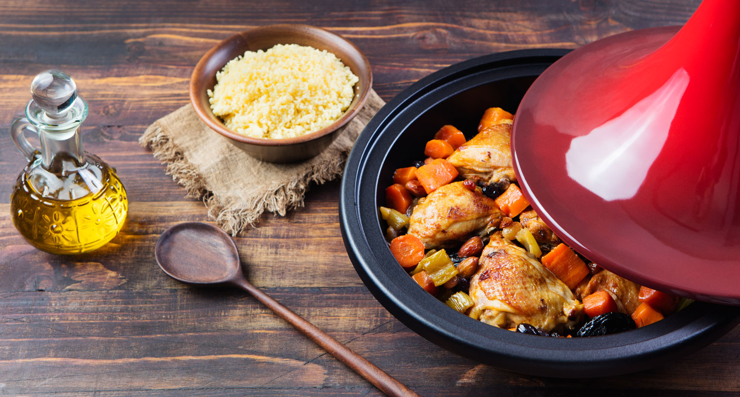Traditional Moroccan cuisine. Tagine with cooked chicken and vegetables