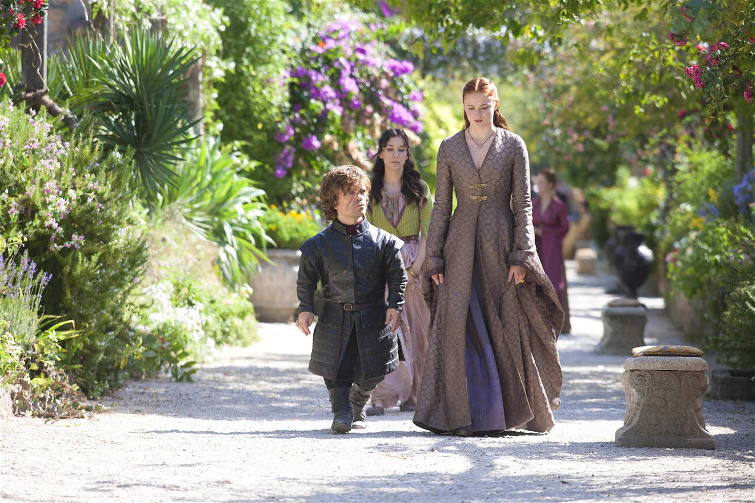 Tyrion and Sansa stroll through Trsteno Gardens
