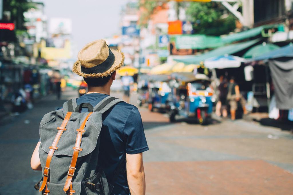 Young backpacker visiting Bangkok, Thailand