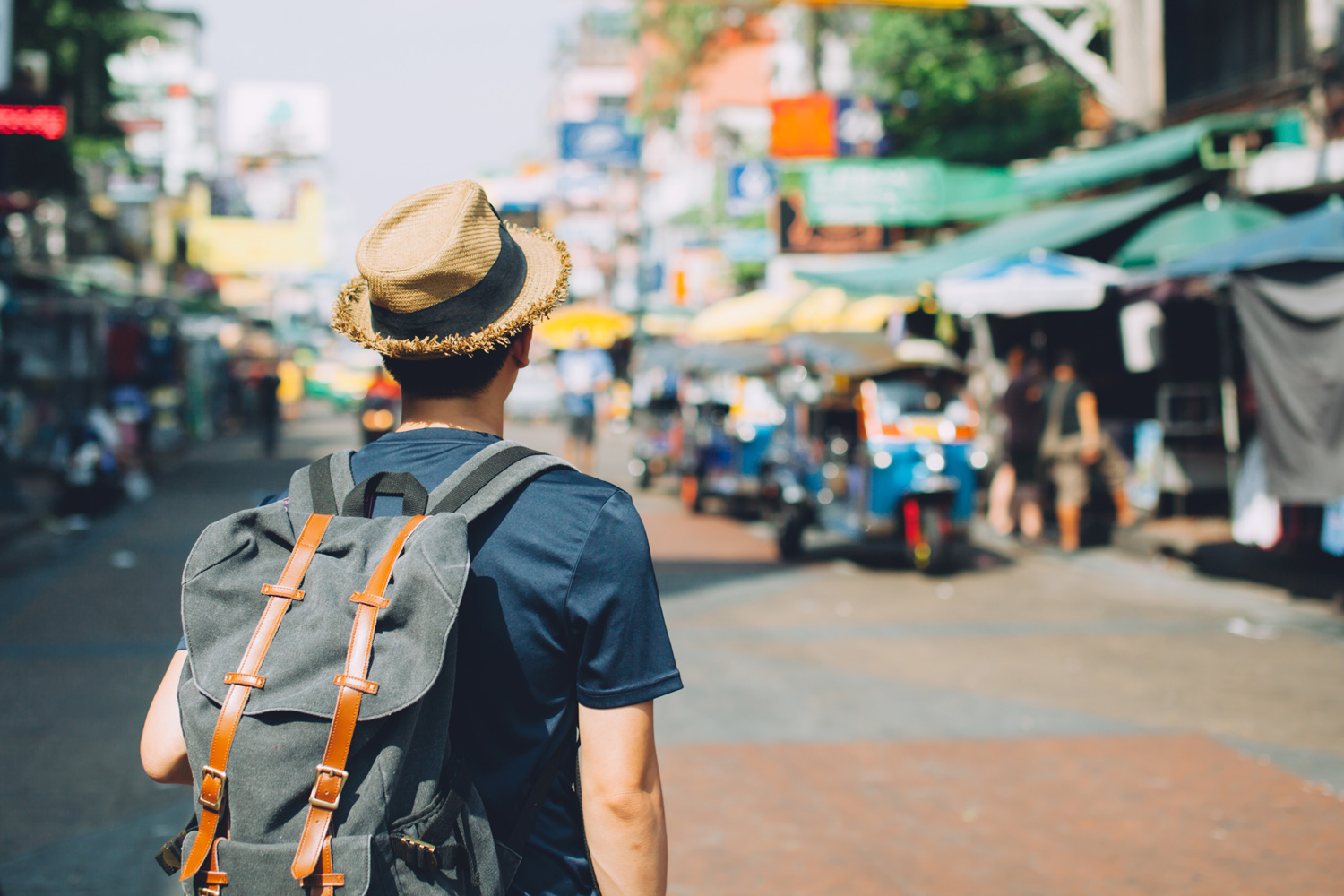 Young backpacker visiting Bangkok, Thailand